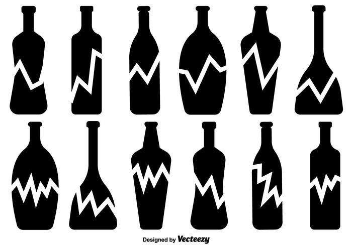 Broken Bottle Vector Icons Set
