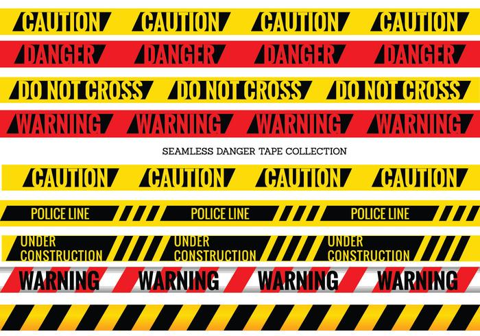 Vector Set of Seamless Danger and Caution Tapes