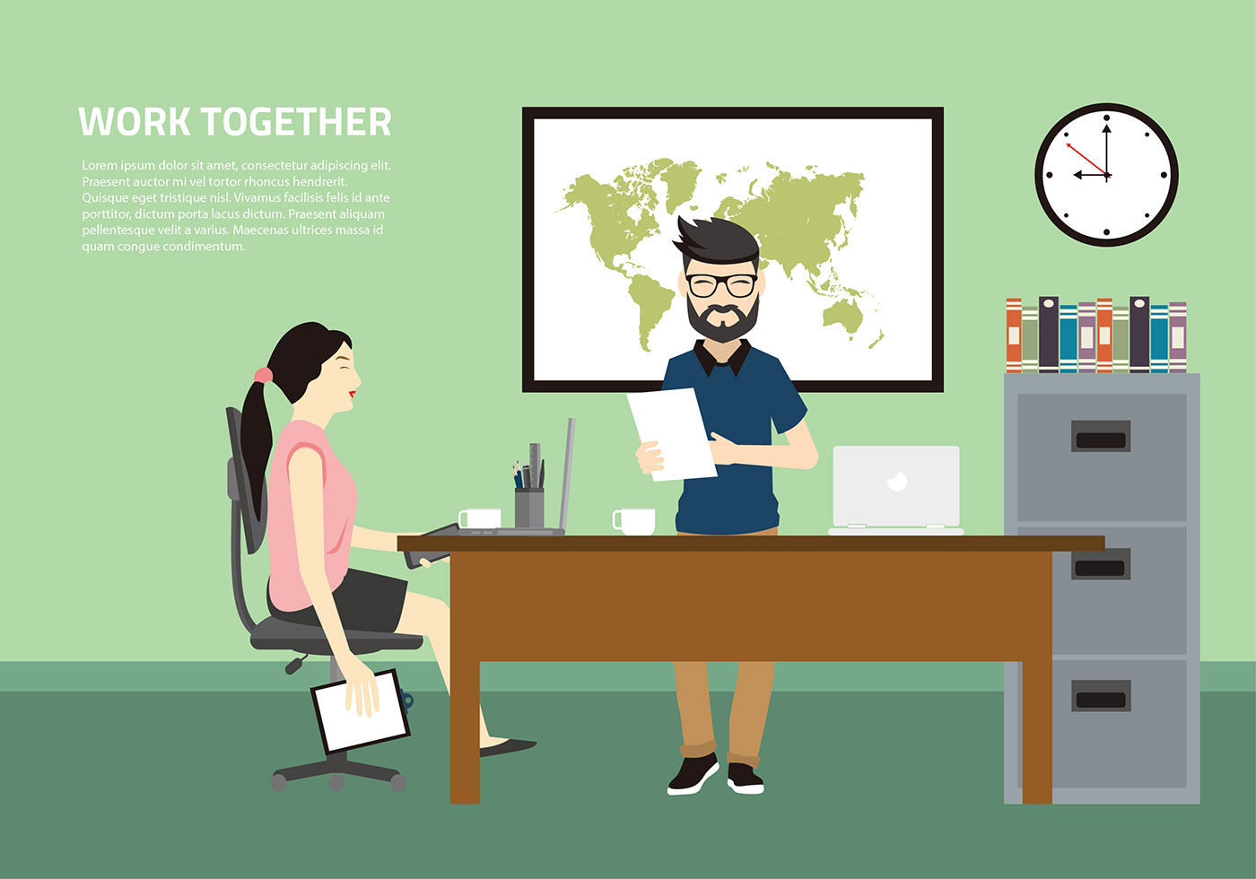 Work Together Office Free Vector Download Free Vector