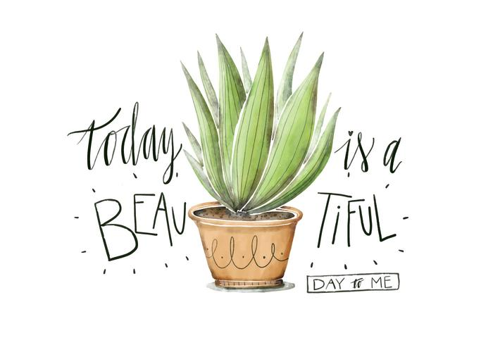 Cute Plant Illustration Watercolor With Lettering Quote vector