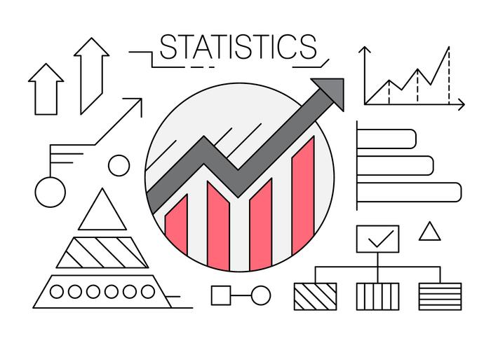 Linear Icons with Charts and Statistics