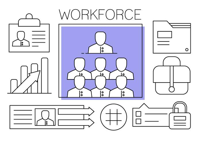 Kostenlose Teamwork Vector Illustration in Minimal-Stil.