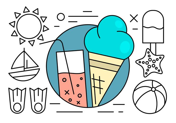 Free Linear Summer Icons