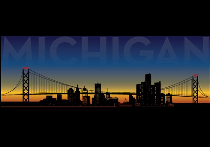 Detroit Michigan Skyline Vector
