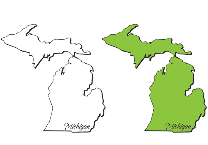 Michigan Mitten State Outlines Vectors