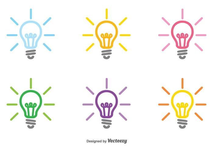 Vector Set Of Colorful Bulb Icon