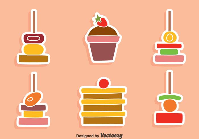 Nice Canapes And Cake Vectors