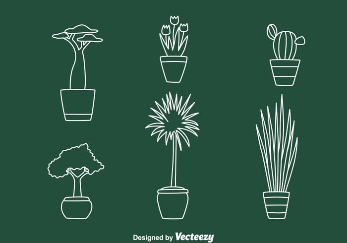 House Pot Plant Line Vectors