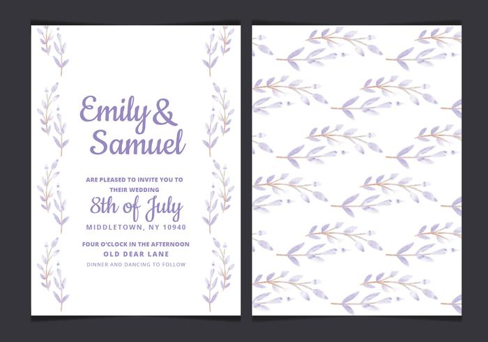 Vector Wedding Invitation with Watercolor Branches