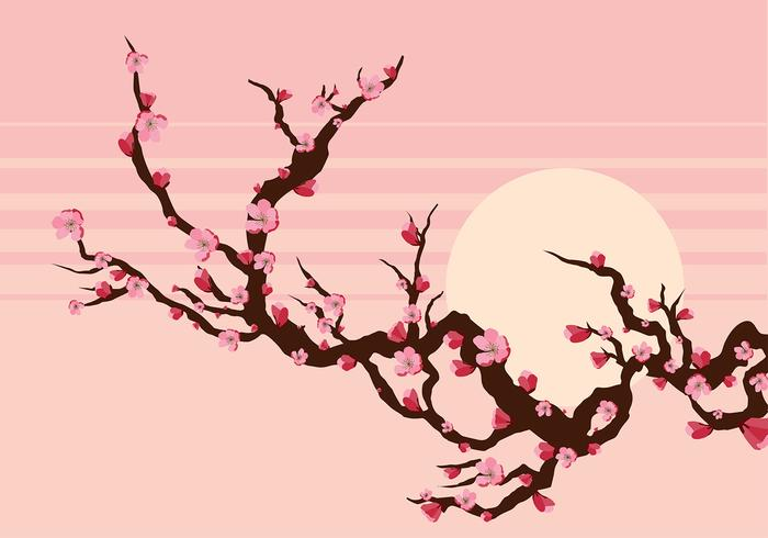 Peach Blossom Branch Vector