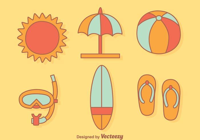 Beach Element tecknad Vector