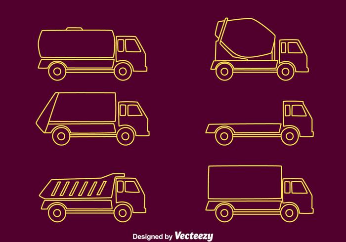 Camions ligne Collection Vector