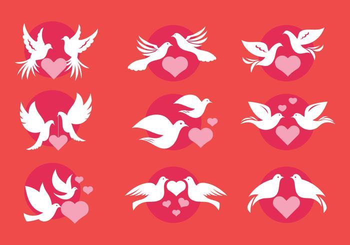 Dove ou Paloma Amour Symboles de Style Minimaliste Vecteurs