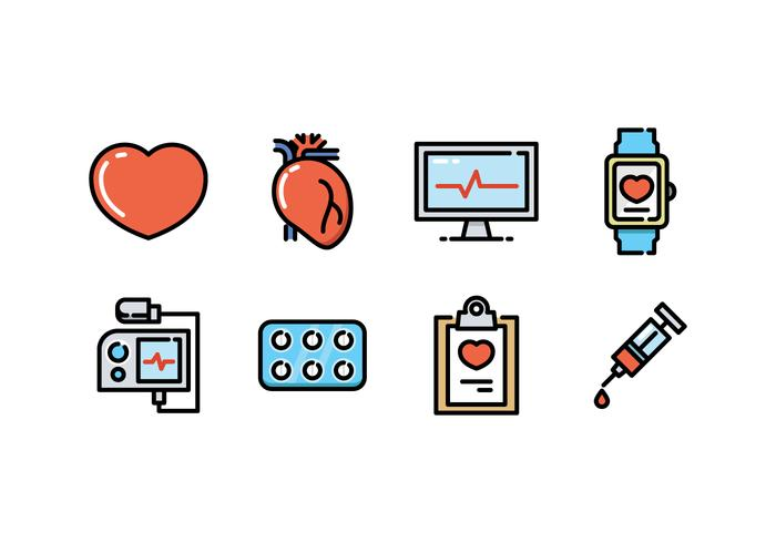 Kardiologie Icon Set vektor
