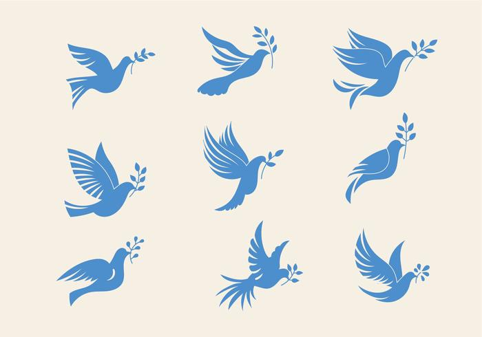 Set Of Dove Or Paloma The Peace Of Symbol Minimalist Illustration