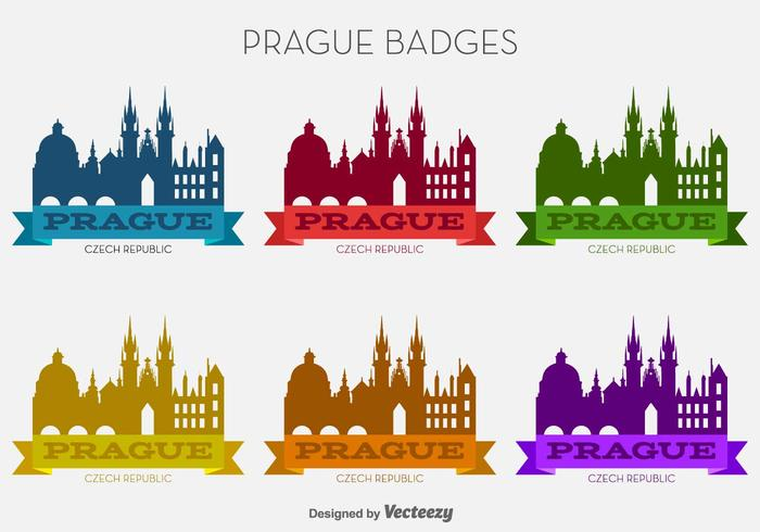 Vector Prague City Bunte Abzeichen