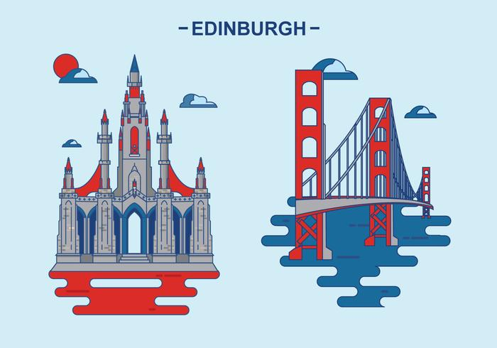 Edinburg Kingdom Building Vector Illustration