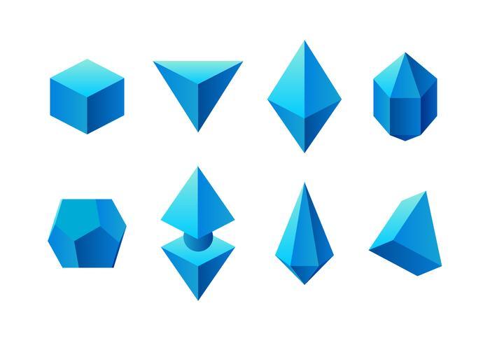 Blue 3D Prisma Gratis Vector