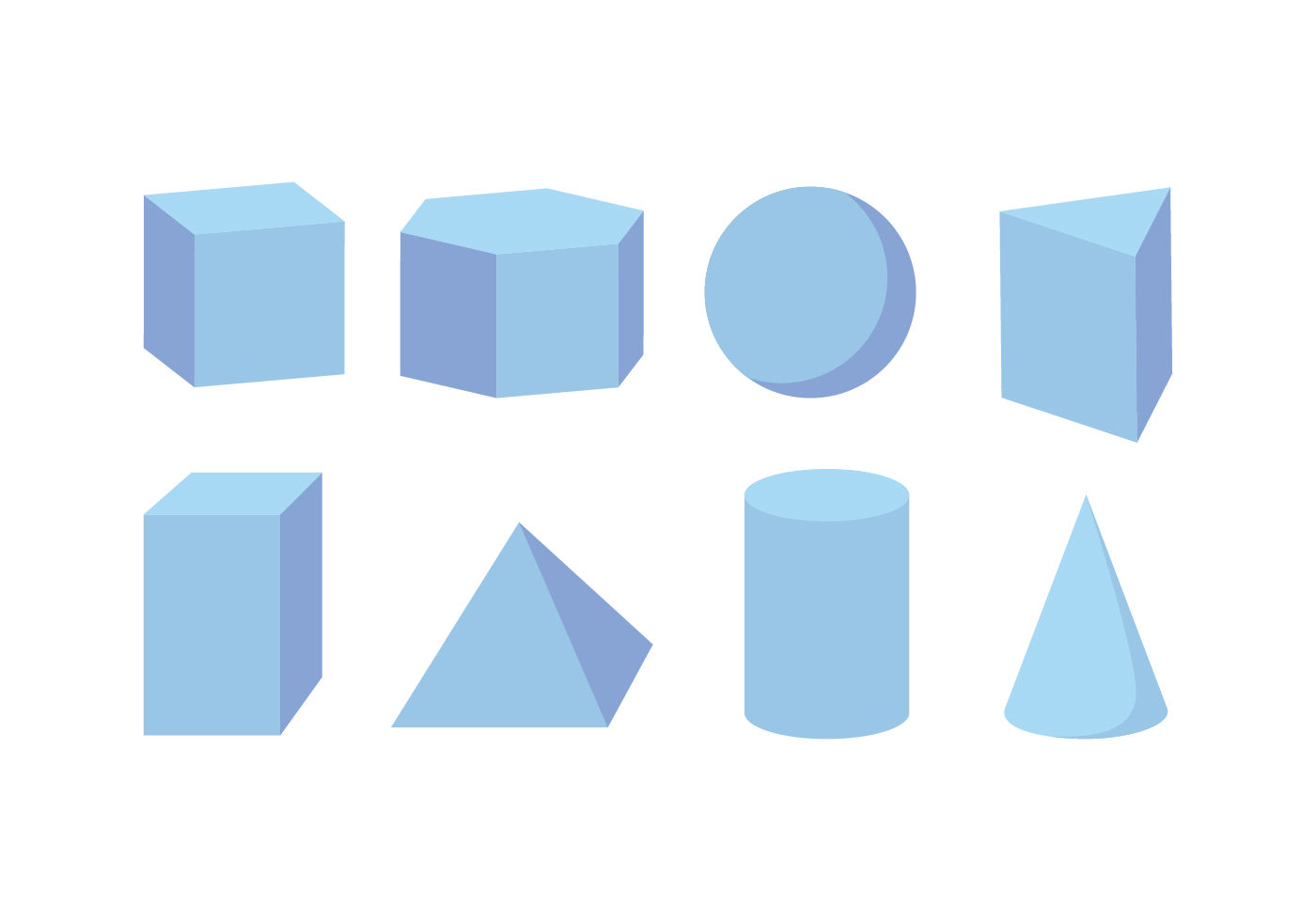 3d Shapes Vector Pack Download Free Vector Art Stock
