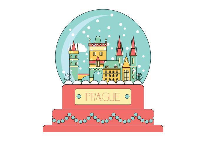 Vecteur Prague Snow Globe