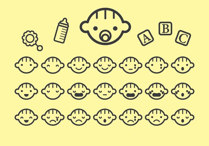 Various Baby Face Icon Vectors