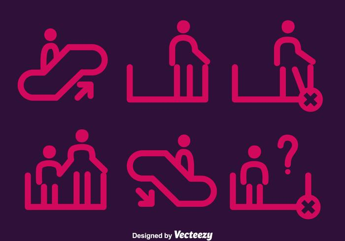 Pink Escalator Element Icons Vector