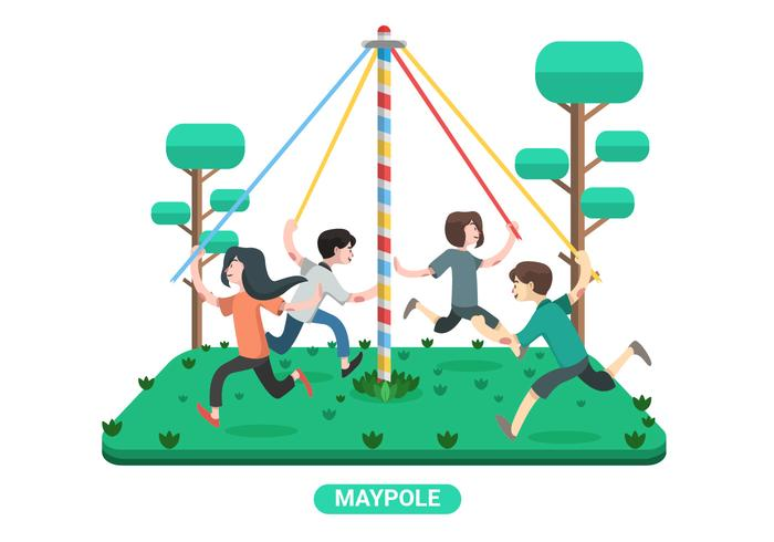 Kids Play Maypole Vector Illustration