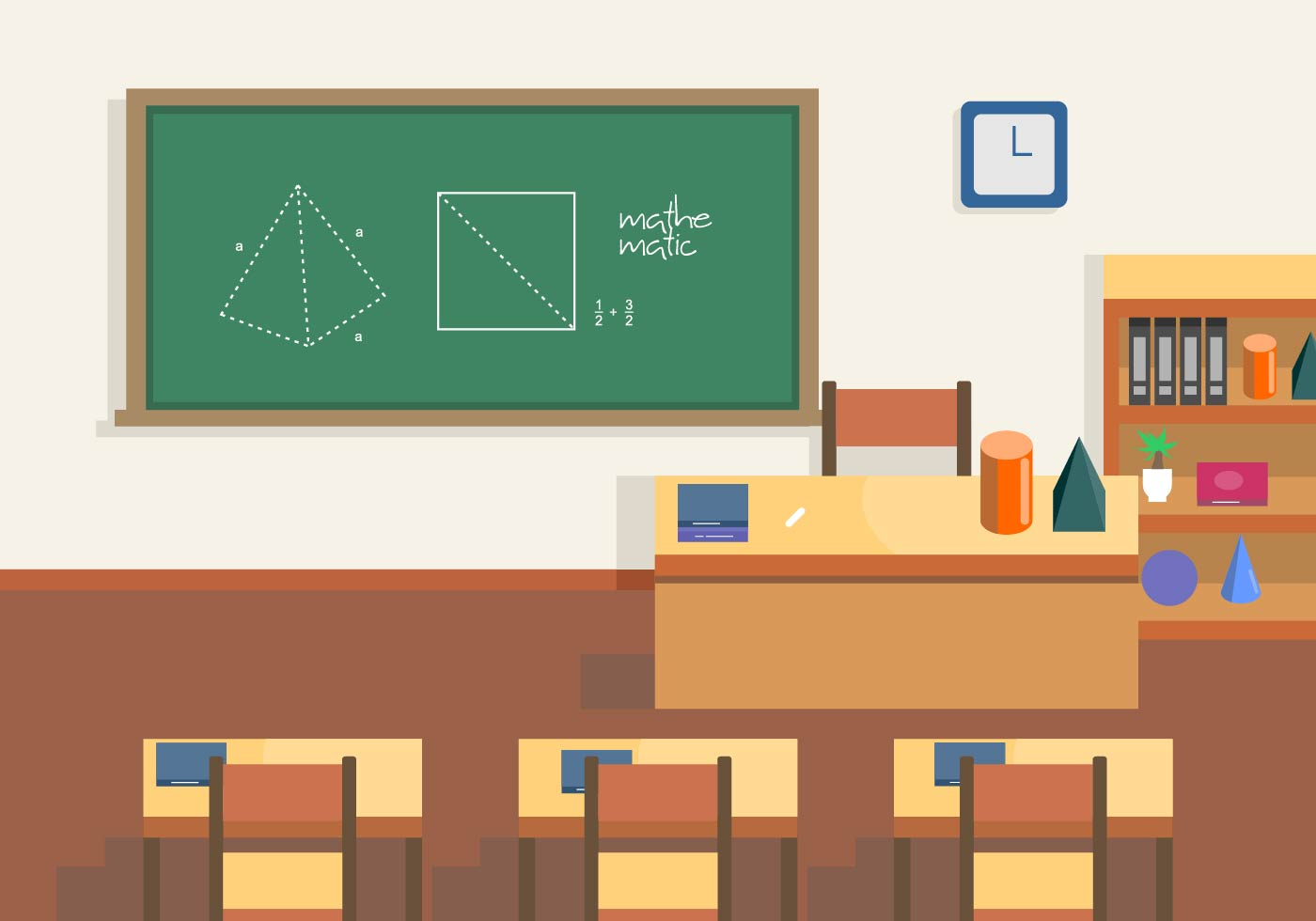 Classroom Design Clipart ~ Geometry class vector scene download free art