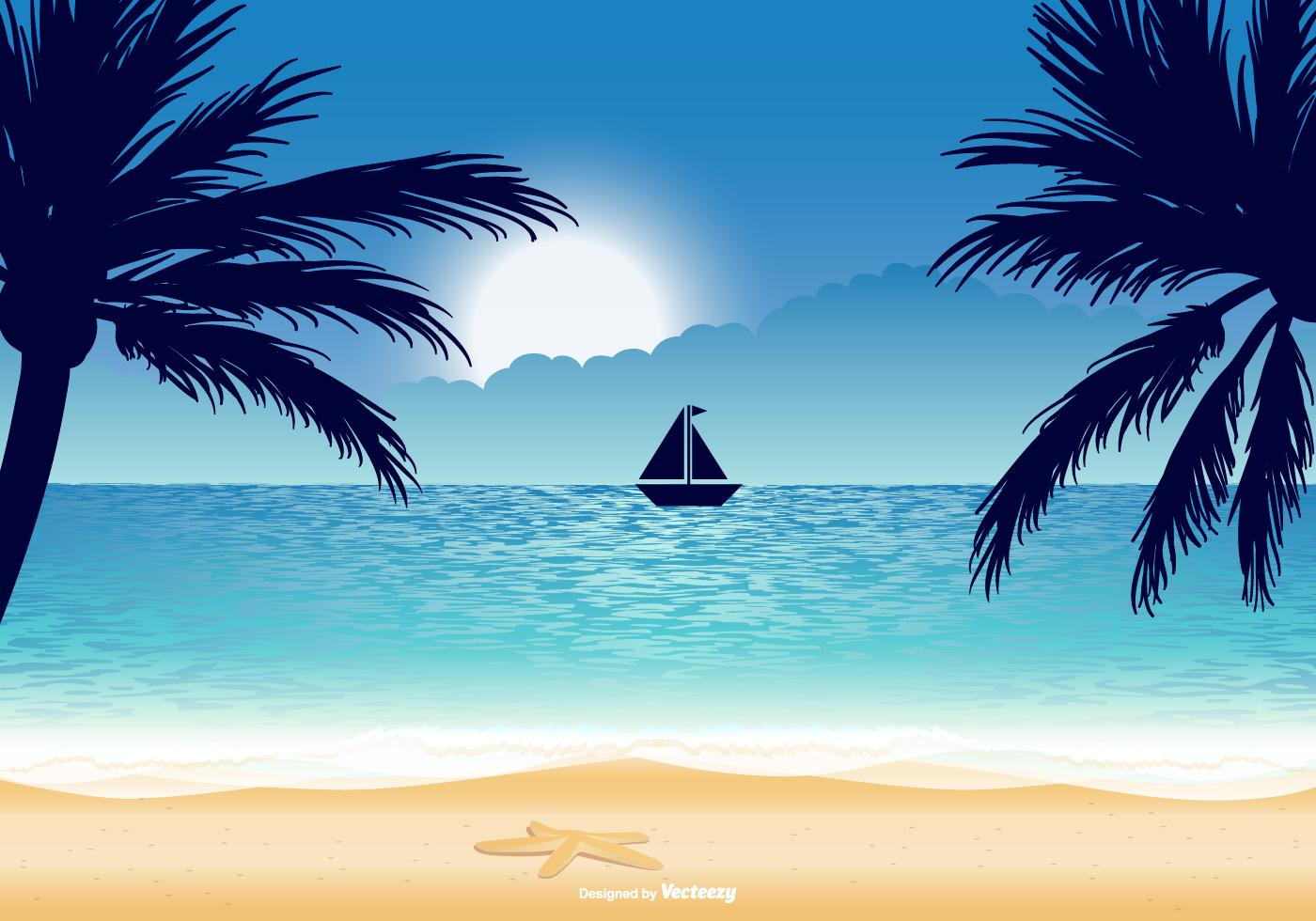 рисунок море солнце пляж простой