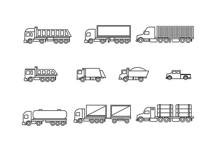 Free Trucks Line Icons Vector