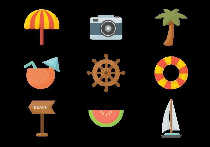 Playa Flat Icons Vector