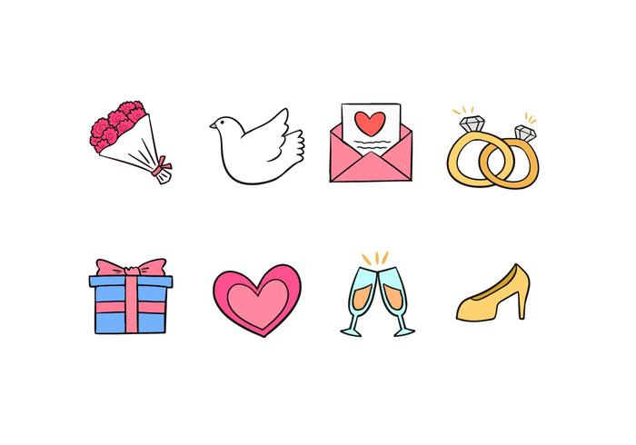 Wedding Doodle Icons vector