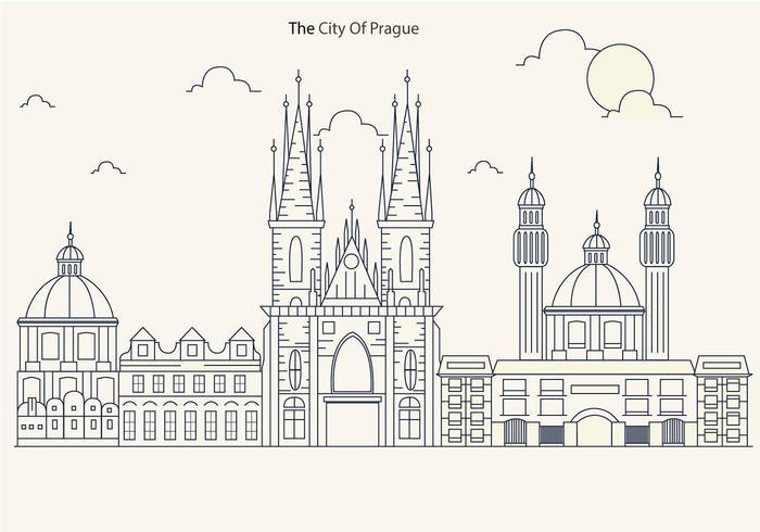 Prague City Skyline with Church Vector