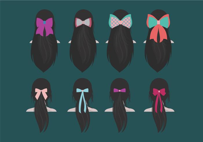Long Hair Ribbon Vector