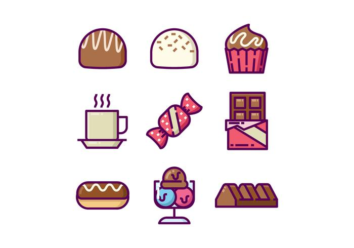 Söt choklad Icon Set