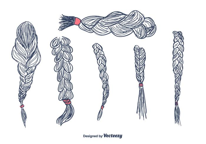 Hand Drawn Hair Plaits Vector