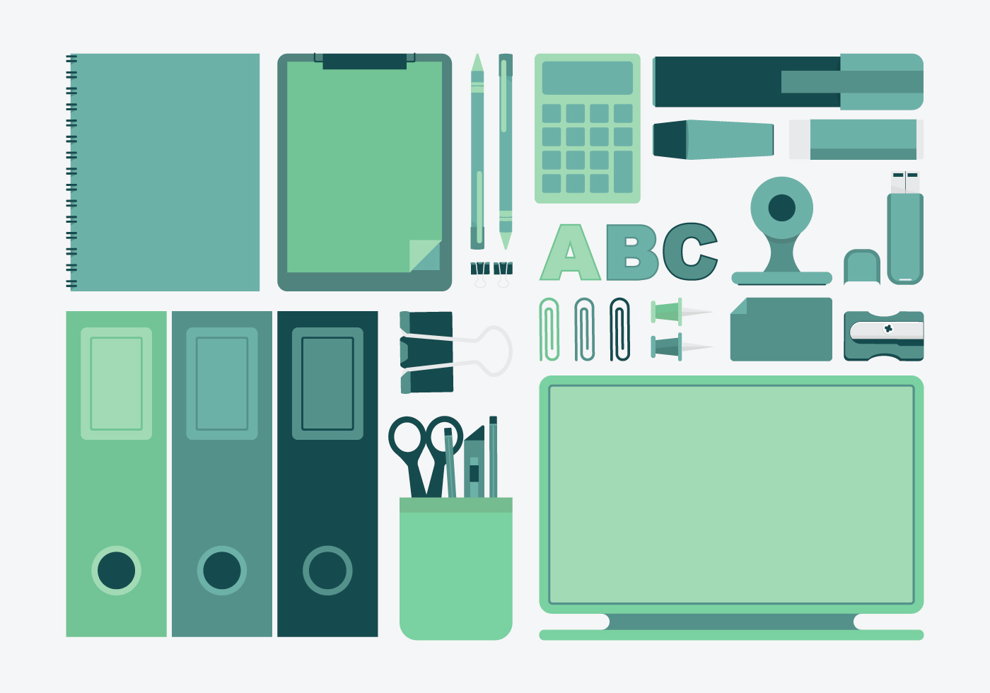 Green And Teal Office And Stationery Set