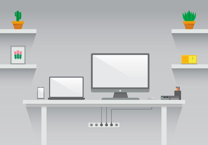 Clean and Modern Set Up Workspace Vektor