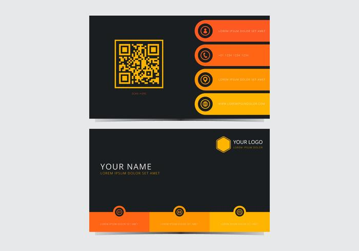 yellow stylish business card template download free vector art