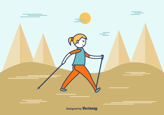 Nordic Walking de dibujos animados vector