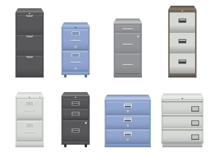 Silver and Blue File Cabinet Vectors