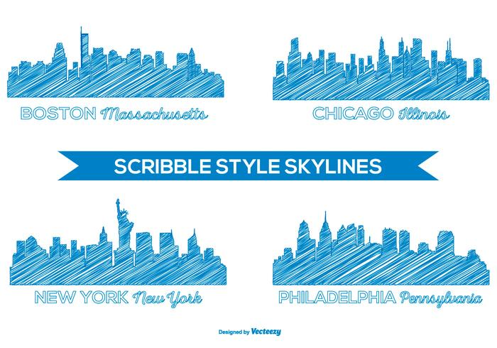 Scribble Style Skyline Set vector