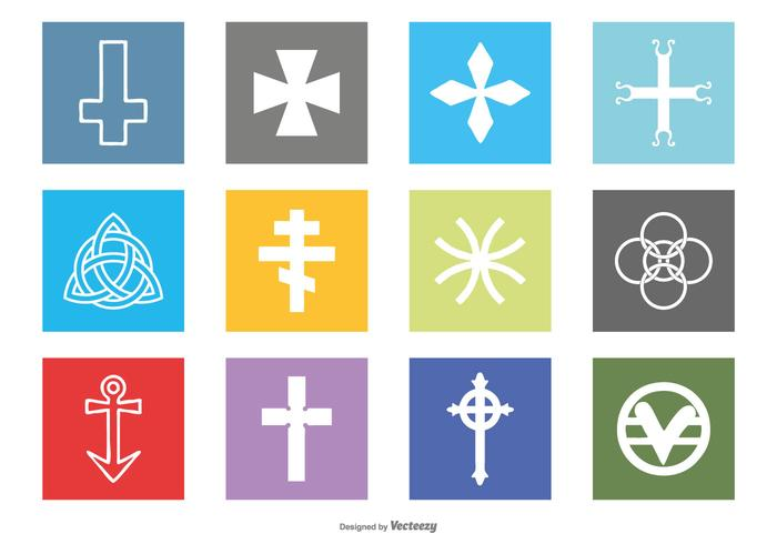 Ensemble d'icônes des symboles religieux