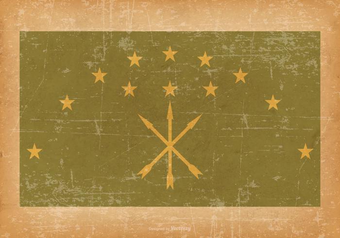 Adygea Flag on Old Grunge Style Background