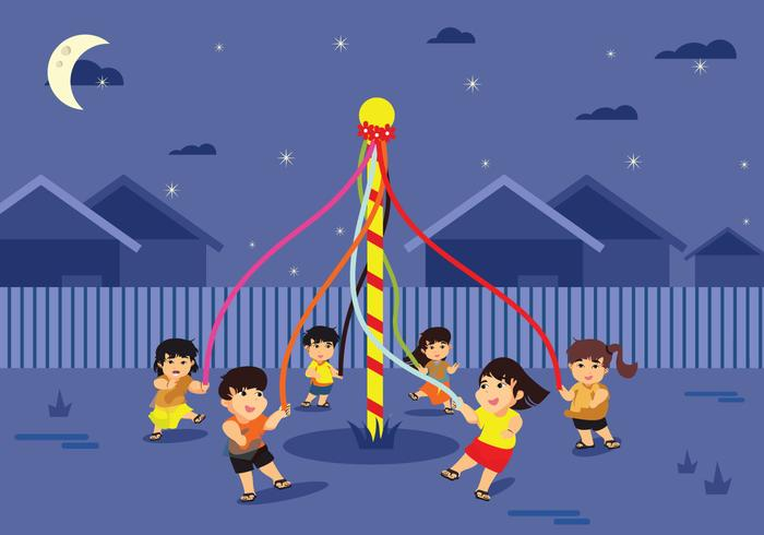 Colorida ilustración vectorial Folk Festival Europeo Maypole