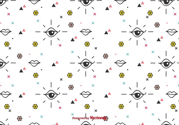 Eyes And Lips Vector Pattern