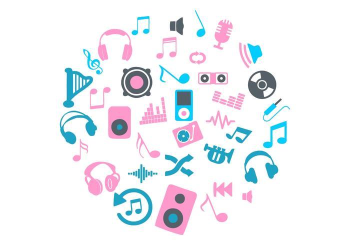 Rosa y azul círculo de iconos de música Vector
