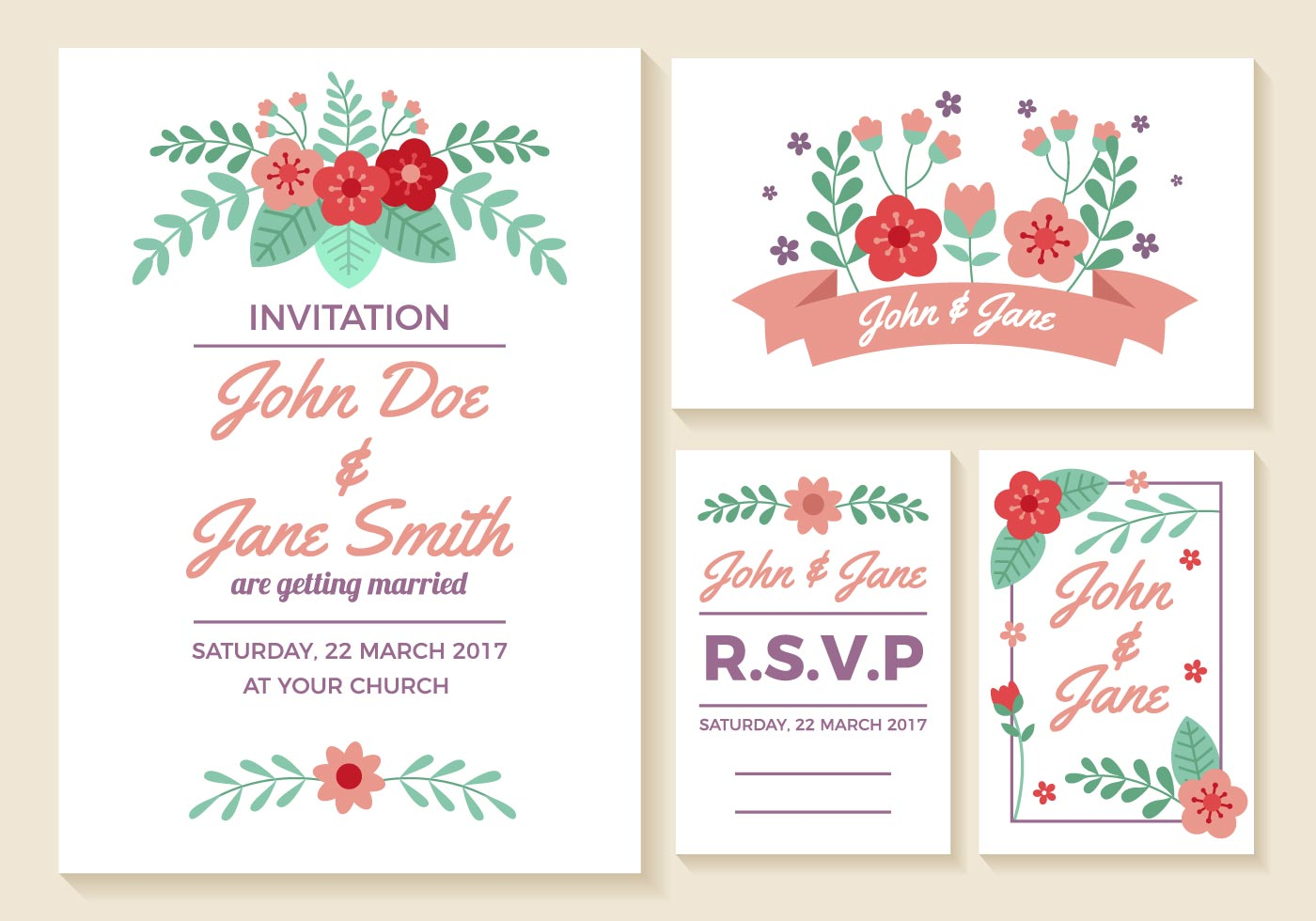 Wedding Invitation Cards Vector - Download Free Vector Art, Stock ...