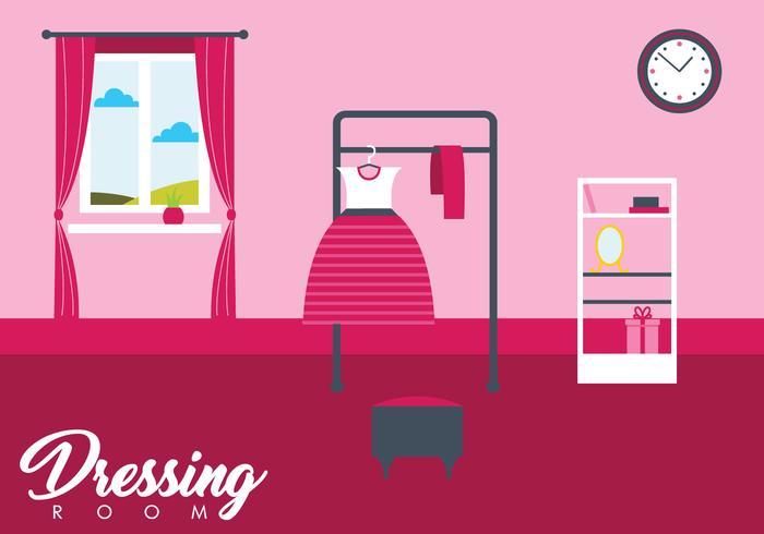 Girl Dressing Room Vector