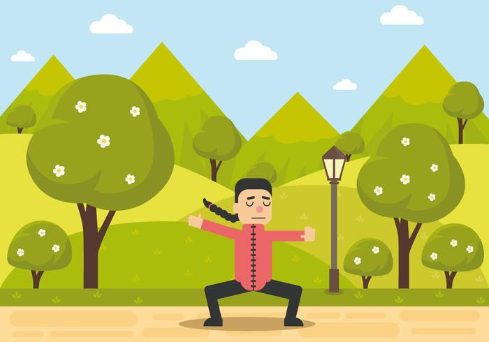 Tai Chi Man Pose's vector